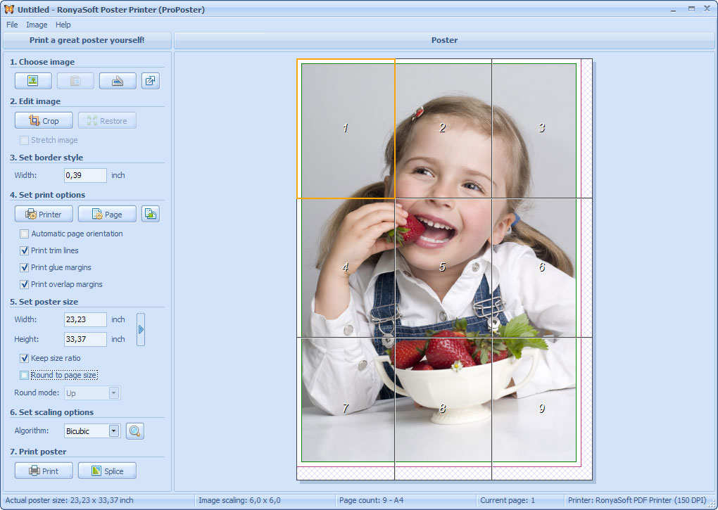 Use a home or office printer to create huge posters or banners! Just pick a photo or an image, data from a Word document or drawing, and Poster Printer will automatically split the picture to fit onto multiple small pages of the poster.